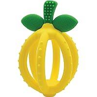 Itzy Ritzy - cepillo para polvo de dientes para entrenamiento y dentición (silicona, sin BPA, forma de limón, con múltiples texturas para calmar las encías y un diseño fácil de sostener), color amarillo