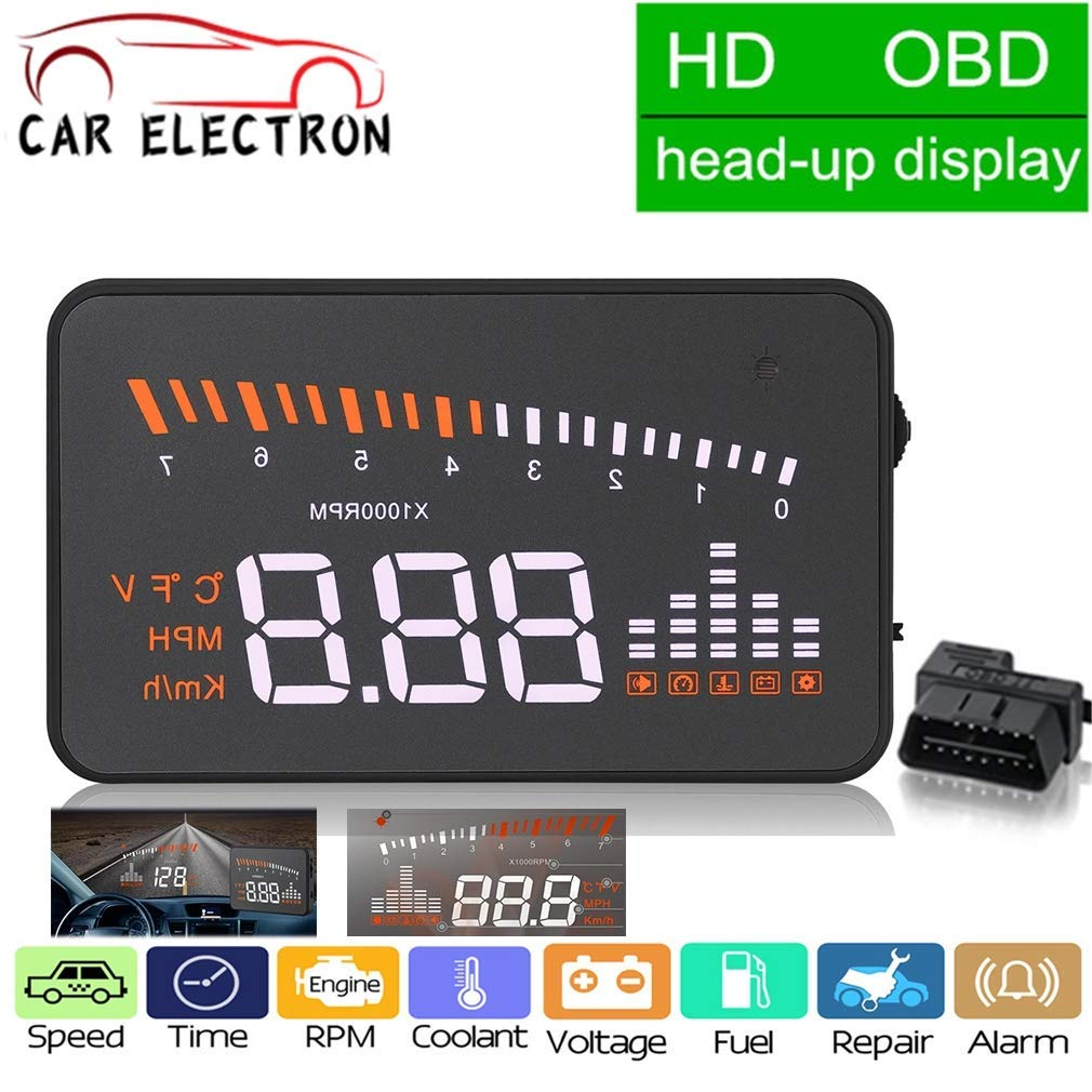 Multi-Function Car 3'' HUD Head Up Display Speeding Fuel Warning Windshield Projector System OBD2 EUOBD Interface Driving MPH KM/H Display