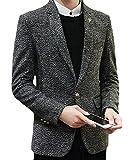 Papijam Mens Thick Notched Lapel Tweed One Button Blazer Jacket Suit Coat Grey M