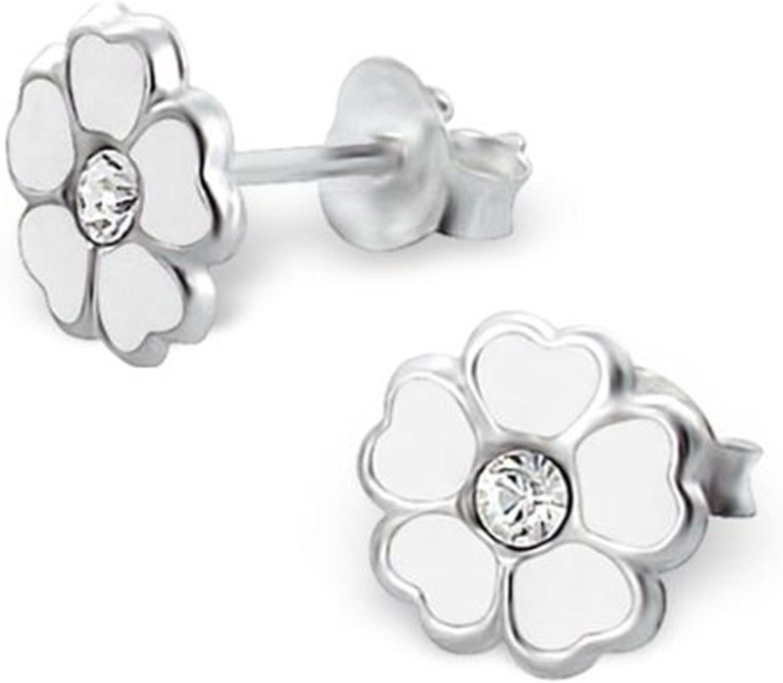 Katy Craig de flores blancas con fondo de plata de ley con piedras de cristal transparente Juego de pendientes de tuerca