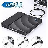 JOOMFEEN USB 3.0 Type-C 外付け DVD ドライブ DVDプレーヤー CD ドライブ ポータブルドライブ CD/DVD ドライブ CD DVD読取・書込 USB3.0/2.0 Window/Mac OS両対応 高速 超スリム