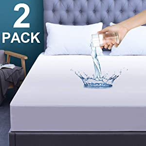 """GRT 2 Pack Twin Size Waterproof Mattress Protector, Breathable Mattress Cover, Fitted Bed Cover 14"""" Deep"""