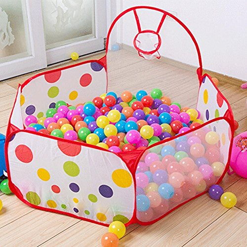 Kids Indoor Pop Up Ball Play Tent,PortableFun Playhouse Ball Pit Pool Playpen with Basketball Hoop - Great Outdoor Toddler Toys-Balls Not - Marine Ball