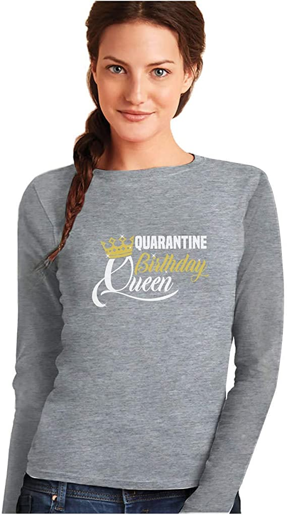 Camiseta de Manga Larga para Mujer - Camiseta Coronavirus - Quarantine Birthday Queen