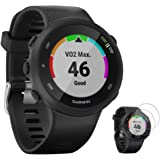 Garmin 010-N2156-05 Forerunner 45 GPS Heart Rate Monitor Running Smartwatch (Black) - (Renewed) with Tempered Glass Screen Pr