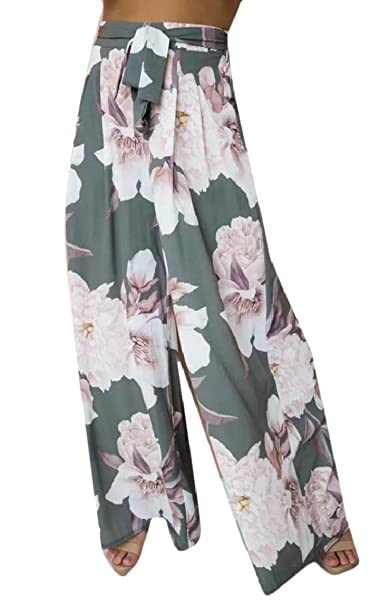 6f69e0a43b ainr Women's Casual Boho High Waist Wide Leg Pants Floral Print Summer  Beach Pants at Amazon Women's Clothing store: