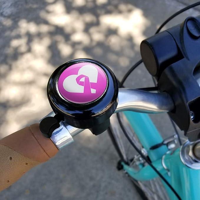 Breast Cancer Awareness Pink Ribbon in Heart Bicycle Handlebar Bike Bell