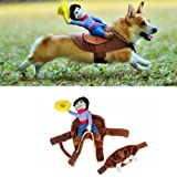 Pet Costume Apparel Dog Riders Cowboy Wear Style Knight Harness Clothing with Hat (L)
