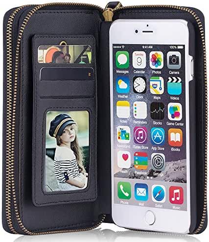 Phone Case with Card Slot Wrist Strap Magnetic Leather Wallet Case for iPhone 5/6/7 Samsung Galaxy S6/7/8