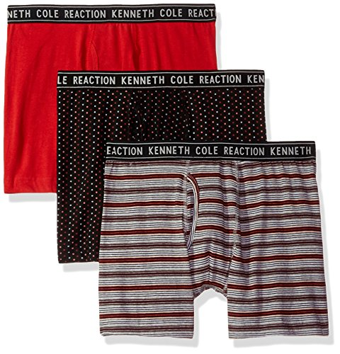 Kenneth Cole REACTION Men's Performance Cotton Stretch 3 Pack Boxer Brief, Patriot Red/Black Multi Dots/Merlot Herald Square Stripe, - Shops Square Herald