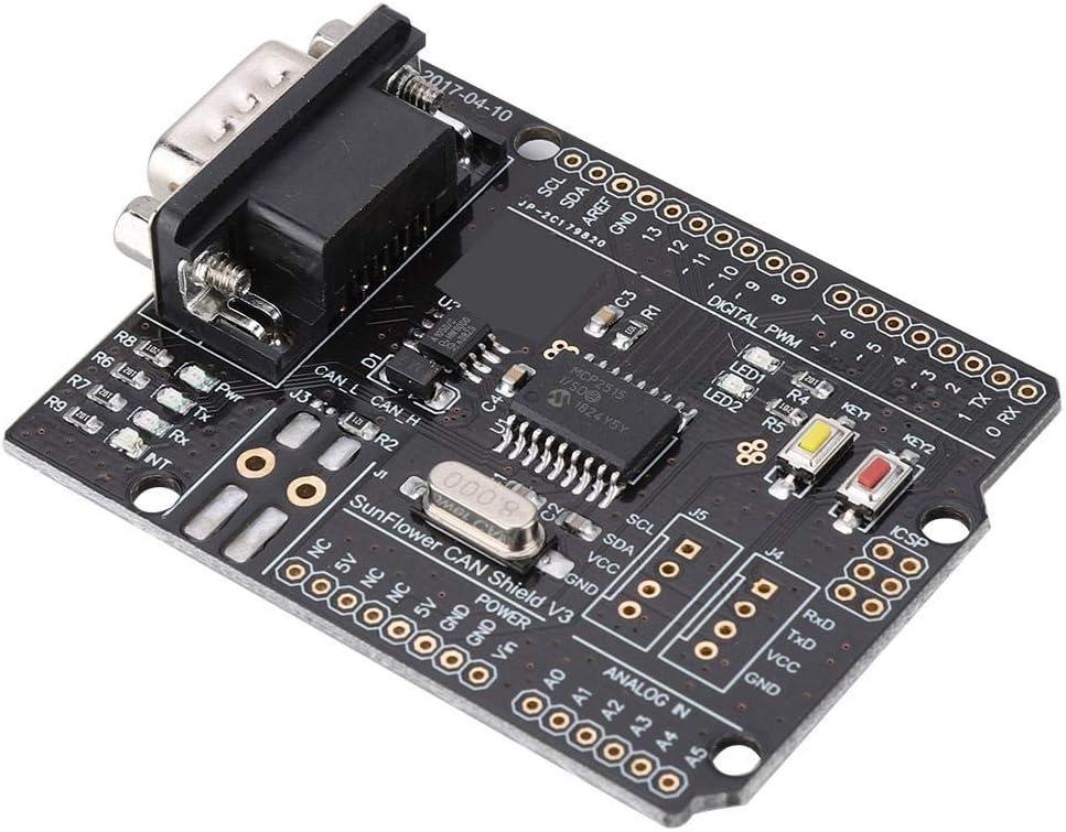 Hakeeta CAN-Bus Shield MCP2515 mit Kontaktstift hohe Geschwindigkeit mit LED-Anzeige Unterst/ützung f/ür Erweiterungsplatine F/ür CAN2.0-Protokoll hohe Effizienz 4,8-5,2 V