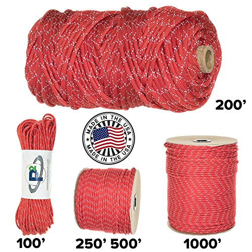Paracord Planet 700lb Criss Cross Double-Reflective Paracord - 2 Bright Retro-Reflective Tracers for the Best in High-Visibility Cord - 100% Nylon Cord is Made in the USA -
