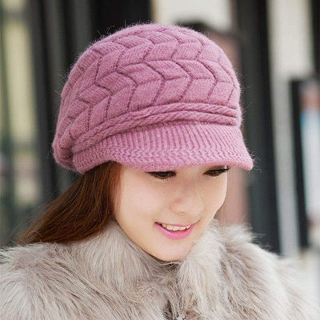 Zippem Womens Winter Warm Knitted Hats Slouchy Wool Beanie Hat Cap with Visor