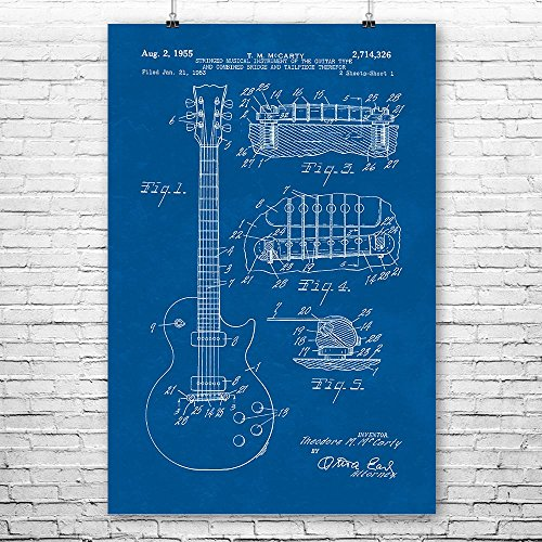 Gibson Les Paul McCarty Guitar Poster Print, Guitarist Gift, Music Studio, Classic Rock, Musician Gift, Guitar Player Blueprint (9