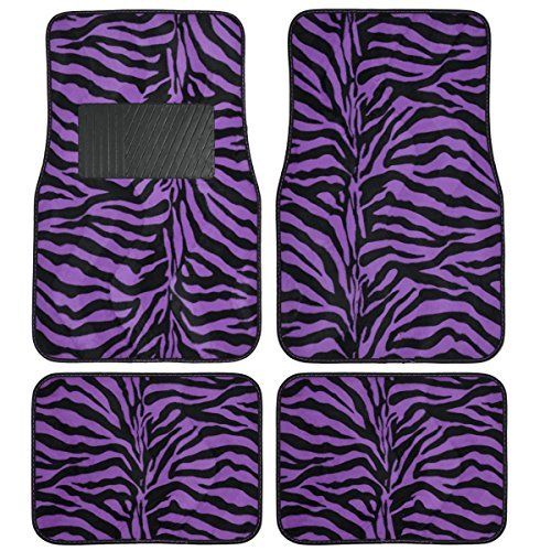 (BDK Safari Zebra Colorful 4-Piece Universal Carpet Floor Mat Set Purple)
