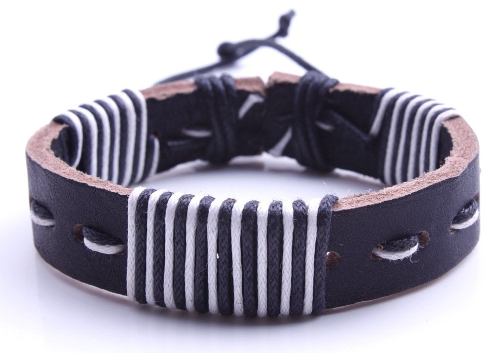 Los nuevos hombres de cuero de la pulsera de la persona que practica tribal Cable Manguito hecho a mano del cáñamo brazalete Pulsera (28) AccessCube