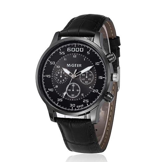Relojes Hombre Grandes,Logobeing Reloj de Pulsera de Cuero Cuarzo Aleación Analógica de Diseño Retro