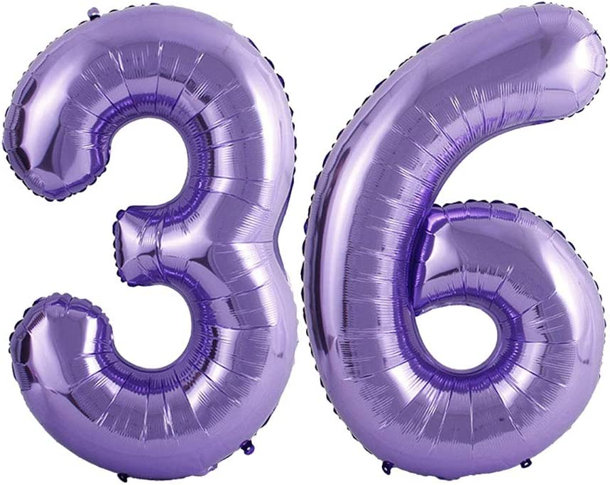 40inch 36th Birthday Party Decorations Number 36 Purple Foil Jumbo Digital Mylar Balloons Mermaid Theme Party Balloon Supplies