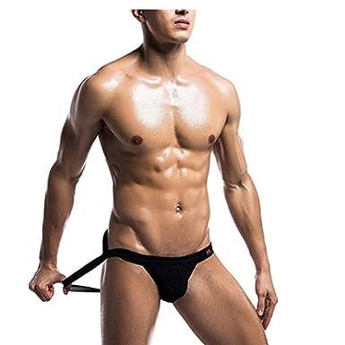 35a772fc2f67 TiaoBug Men's Sexy Athletic Supporter Jockstrap Sport Underwear Bikini Briefs  Underpants Black S