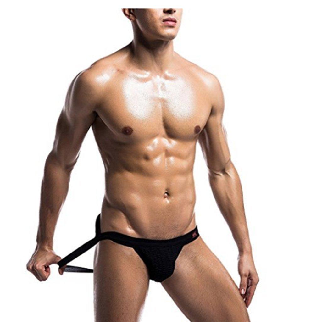 iEFiEL Men Athletic Supporter Jockstrap Sport Bikini Briefs Underwear Black Large (Waist: 32.0-47.0)
