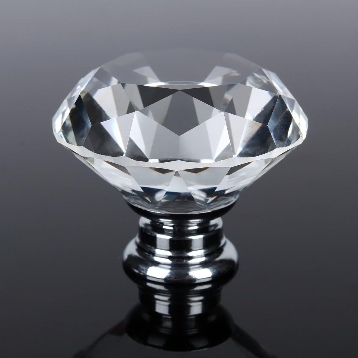 12pcs Fanshop Diamant Kristall Glas 30 mm K/üche Schlafzimmert/ür T/ür Kn/öpfe Griff Schublade Klar