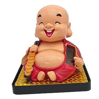 Sharplace Agitando Ornamenti di Testa Funziona con Energia Solare Figura de Buddha Maitreya Decorazione Domestica