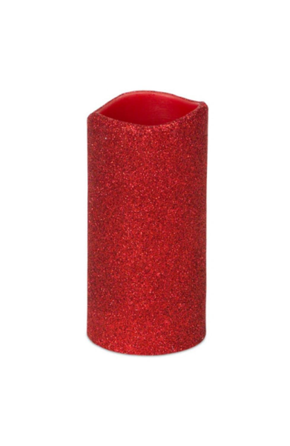 Pack of 6 Red Glittered Flameless Wax LED Pillar Candles w/Timers 3'' x 6''