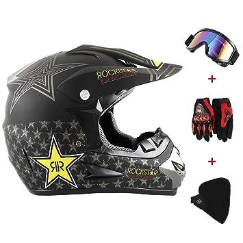 New_Soul 4pcs Cascos de Motocros Casco de Cross Adulto Fantastic FS945 con Gafas Protectoras Guantes Mask