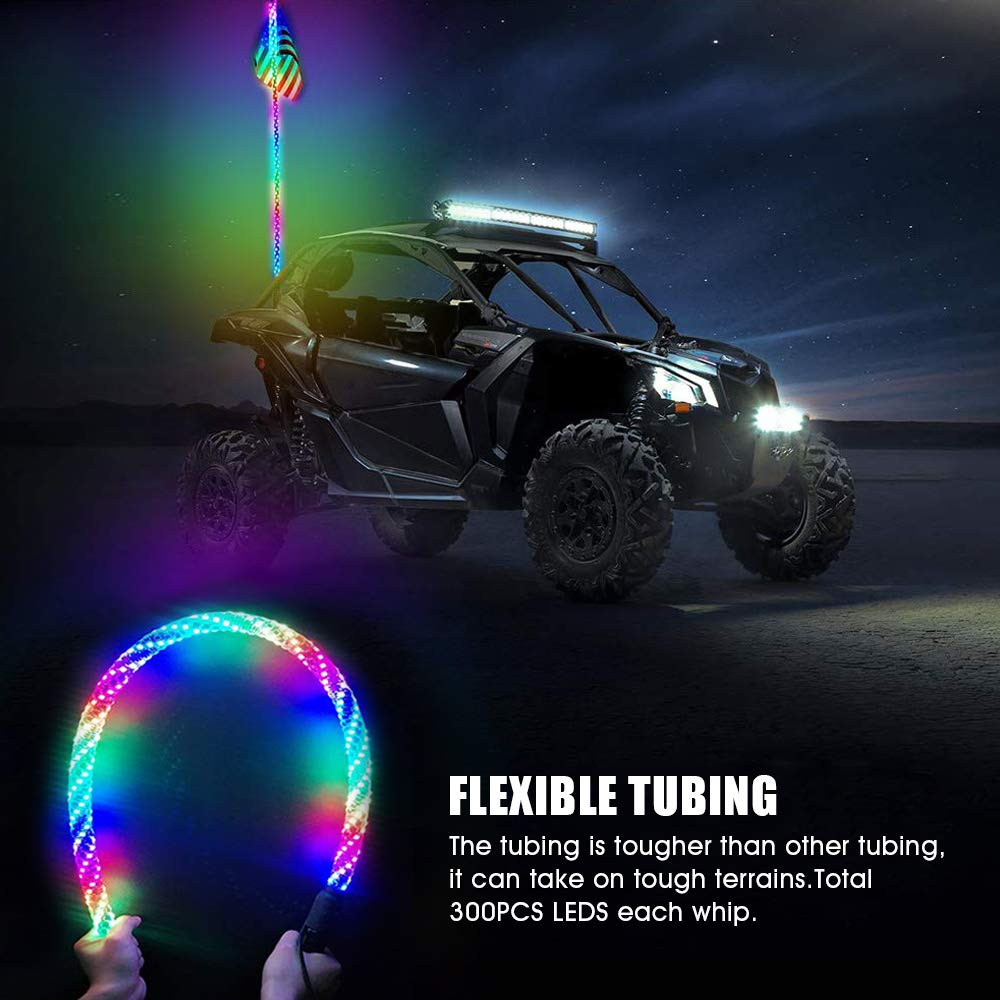 Novsight 4FT 360/° Spiral Multicolor Chasing Dancing LED Whip Lights Flag 20 Colors Remote Controll Waterproof Antenna Whips Lamp for UTV Off 2PCS Road Vehicle ATV Polaris RZR 4 Wheeler