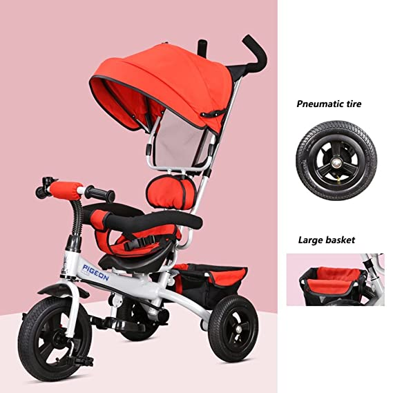Fenfen Triciclo para niños 1-5 años Bebé/niños Bicicleta Cochecito para bebés, Rojo/morado/azul, 75 * 50 * 103cm (Color : Red): Amazon.es: Hogar