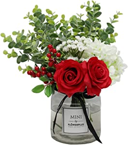 Nubry Artificial Flowers Silk Roses Fake Babys Breath Flower Eucalyptus Leaves Berries Arrangements Wedding Bouquets Indoor Home Faux Plants Décor (Red Without Vase)