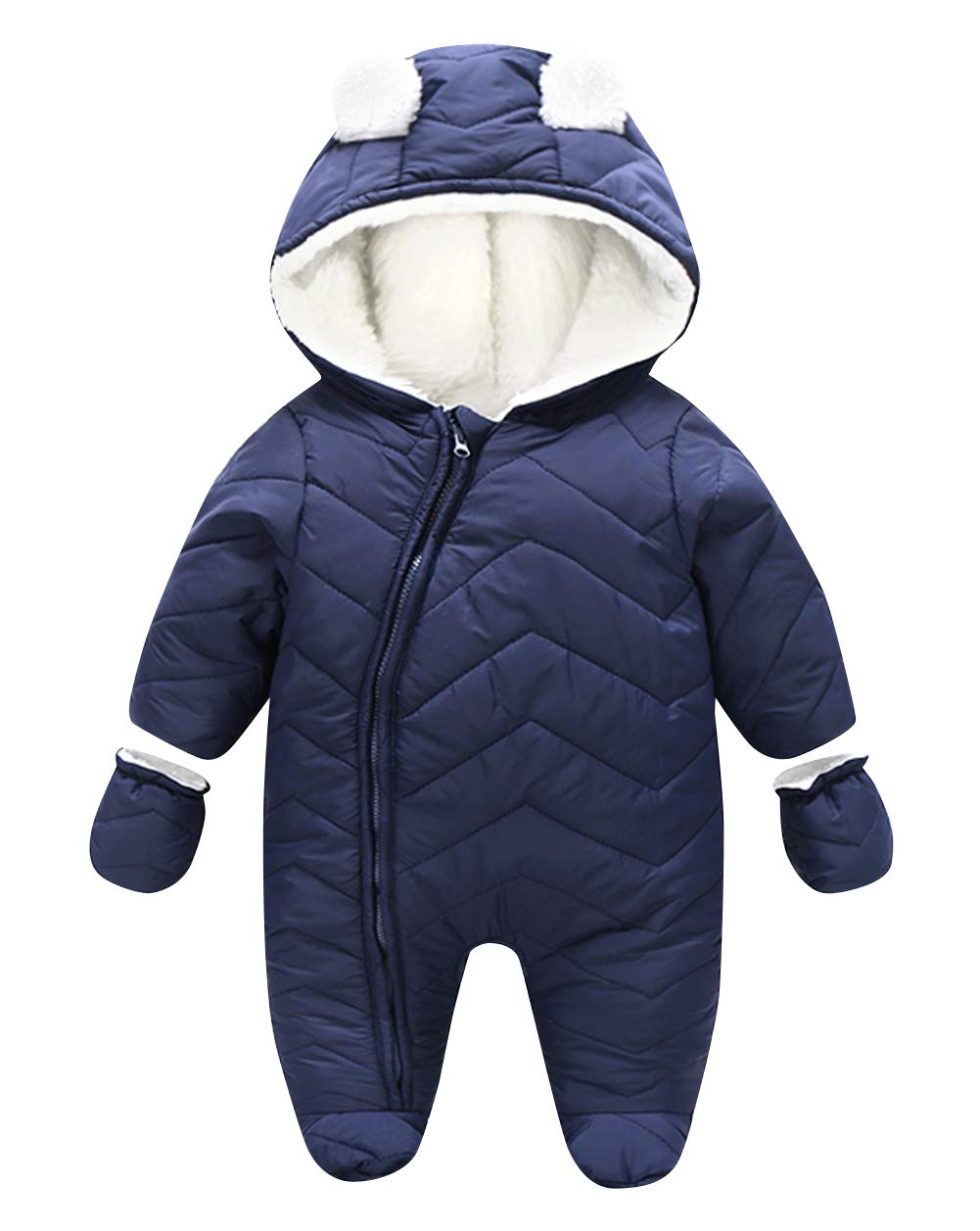 Unisex Toddler Onesies Snowsuit Zipper Fly Jumpsuit with Shoes and Gloves - Red 73CM HAPPY CHERRY
