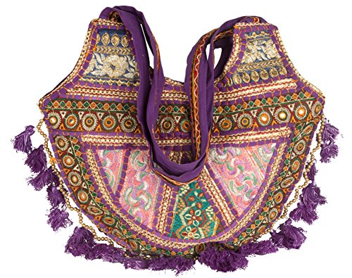 Tribe Azure Women Medium Shoulder Bag Tote Colorful Roomy Casual Boho Purse Travel Beach Top Handle Tassel Bright (Magenta) ()