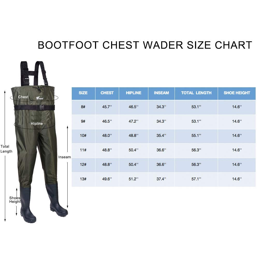 8 Fans Fishing Waders for Men Women, Waterproof Lightweight Bootfoot Chest Waders with Wading Belt for Fishing and Hunting