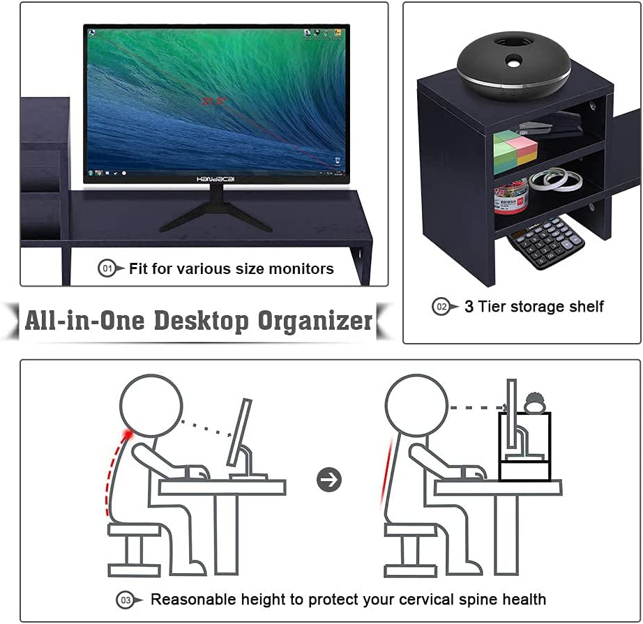 Ufine Wood Monitor Stand Riser with 3-Tier Storage Shelf 31.5 inch Desktop Organizer Computer Laptop PC Printer Telephone Stand for Office Dorm Home, Space Saving Black : Office Products