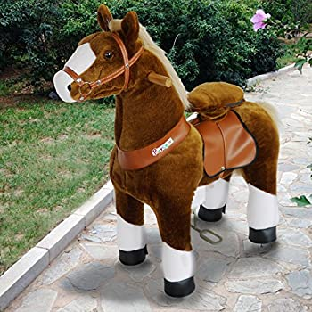 PonyCycle Official PonyCycle Ride On Horse No Battery No Electricity Mechanical Horse Brown with White Hoof Small for Age 3-5