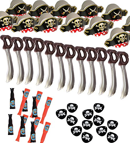 [Pirate Party Set -12 Pirate Hats,Patches ,Swords,Telescopes - Funny Party Hats®] (Pirate Clothing And Accessories)