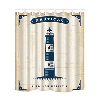 NYMB Sailor Spirit Decor Nautical Lighthouse In Vintage Shower Curtain Polyester Fabric Waterproof Bath