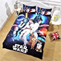 Jameswish Gorgeous 3D Star War Duvet Cover Set Soft Fabric Comfortable Kid Bed Cover Heavy-Duty Comfortable 1Duvet Cover 2Pillowshams Washable King Queen Full Twin Size