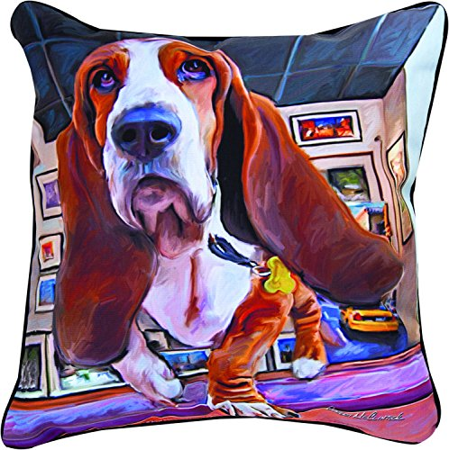 Manual Woodworkers & Weavers Paws and Whiskers Throw Pillow, Bumping Along Basset Hound, 18