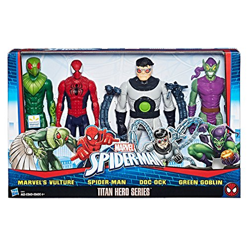 Marvel Spiderman Titan Hero Versus Villians Series Four 12 Inch Figurine Set With 5 Point Articulation (Green Man Spider)