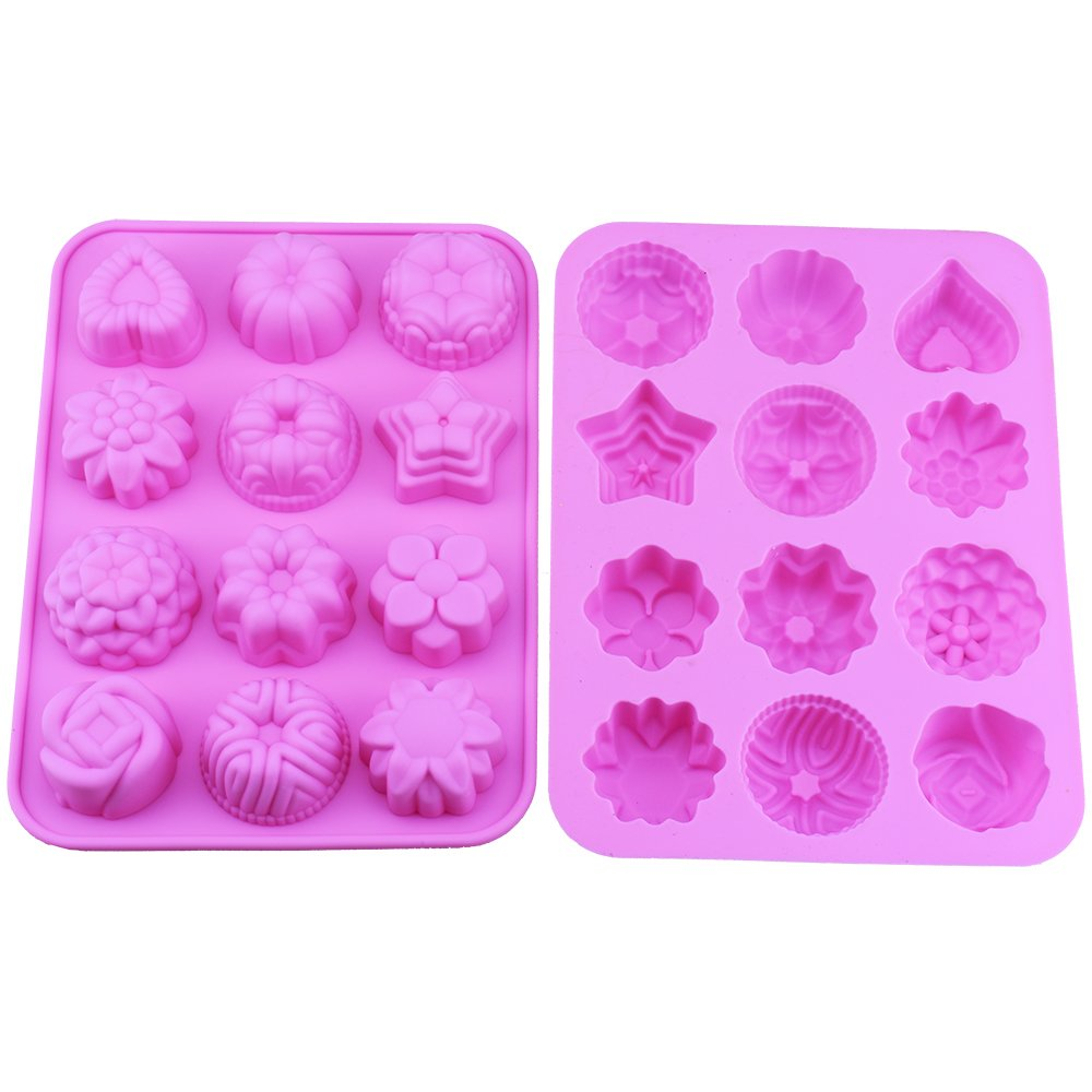 5 Colors Pack of 5 12 Cavity Silicone Flower Soap Mold Cake Bread Mold Chocolate Jelly Candy Baking Mould Pink, Blue, Orange, Green, Red
