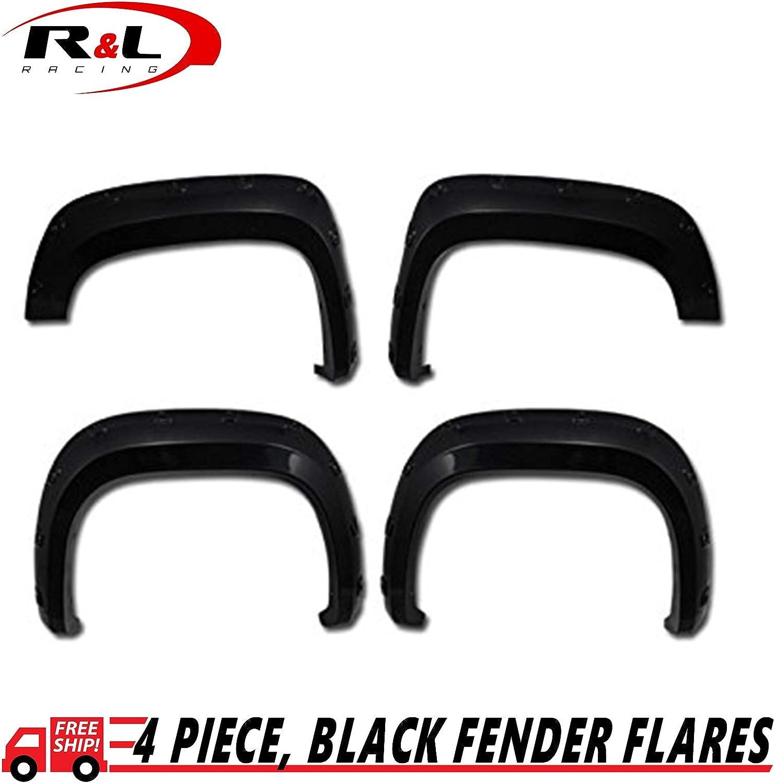 R/&L Racing Black Fender Flares Dura-Flex Pocket Style Kit Wheel Cover 2007-2013 for GMC Sierra 1500 Fleetside 4pcs