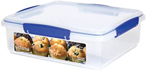 Sistema KLIP IT Utility Collection Bakery Box Food Storage Container, 118.0 oz./3.5 L, Clear/Blue