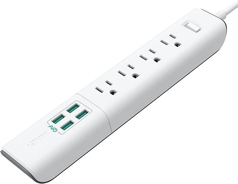 AUKEY Power Strip with 4 AC Outlets and 4 USB Charging Ports, 5-Foot Extension Cord for Smartphone, Laptop, Tablet, Home, Office and More
