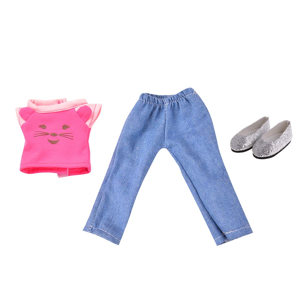 KESOTO Precioso Conjunto Ropa Pantanl/ón para Mu/ñecas Chicas Vestido Ni/ños Traje para Mu/ñecas Americana Ni/ña de 14 Pulgadas