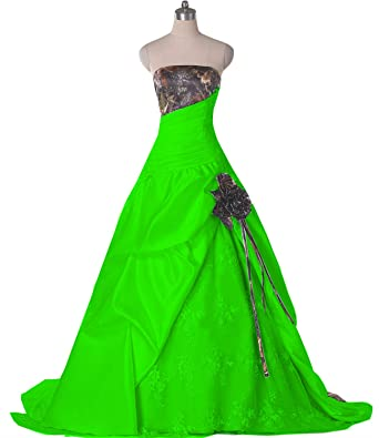 959c5ae76fc DINGZAN Lace and Camo Wedding Dresses Ball Reception Quinceanera Gowns 2  Apple Green