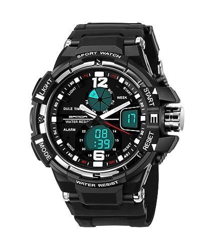 Niños reloj digital analógico cronómetro deportes al aire libre relojes para Running Hinking negro + plata: Amazon.es: Relojes