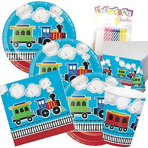 All Aboard Train Theme 1st Party Supplies Pack (Serves-16) Plates Napkins Cups and Tablecloth - First Train Party Supply Tableware Set Kit includes Birthday Candles