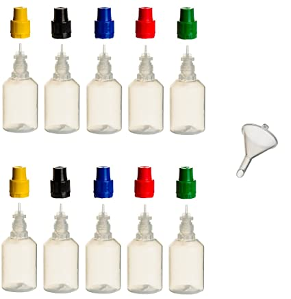 10 unidades de 30 ml PP de botellas con tapas de colores + relleno de embudo